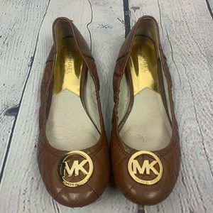 Michael Kors Brown Quilted Leather Flats
